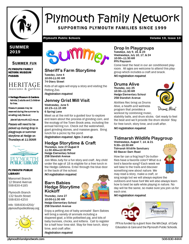 Newsletter - PLYMOUTH FAMILY NETWORK